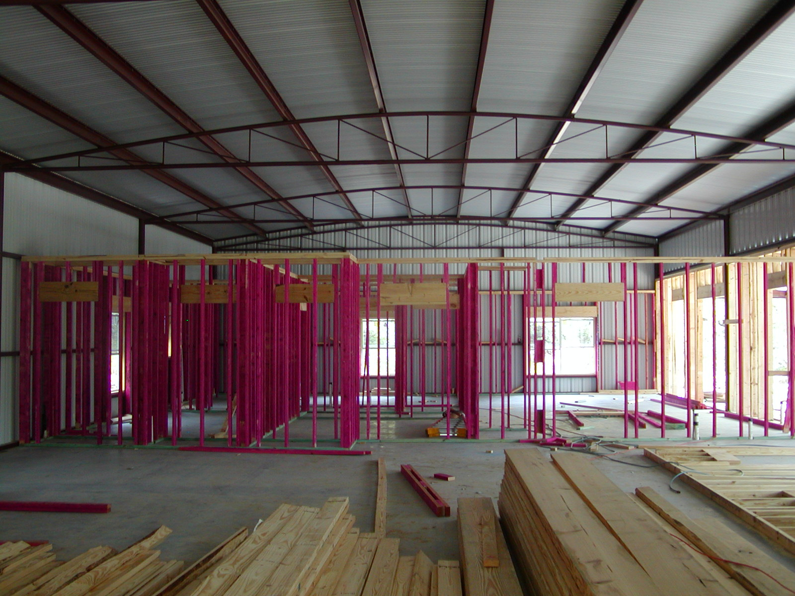 Framing A Metal Building Interior : Redstone ranch